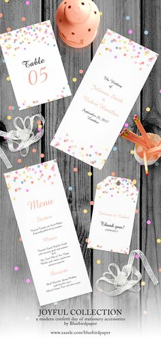 Joyful | Modern Confetti day of stationery accessories  A playful modern wedding accessories, with colourful and fun confetti, perfect for a non-traditional, offbeat or casual wedding.   All designs includes a free color and wording customisation service.  If you have any request, please contact at margherita@bluebirdinvites.com  View the full collection here:   http://www.zazzle.com/collections/joyful_modern_confetti_wedding_set-119518330436561645