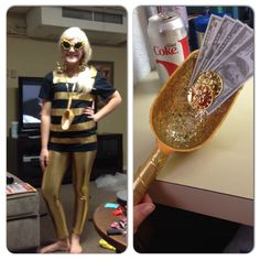"""""""Gold digger"""" Halloween costume idea: I bought a kids plastic shovel and mod podged it with gold glitter and hot glued play money to it. The shirt is a plain black tee from michaels and I added gold duct tape stripes and cut the collar of the shirt in a square shape to line up better with the duct tape. The leggings were from amazon.com, they were about $11 cheap, modest Halloween costume!"""