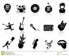 Rock And Roll Music Icons Royalty Free Stock Photo - Image: 32220055
