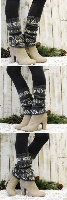 Our snowflake knit leg warmer was inspired by amazing Scandinavian ski sweaters. The perfect compliment to tall boots, Uggs or wear with a pair of short boots. Charcoal grey knit leg warmer.
