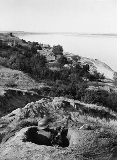 On the outskirts of Stalingrad, a German machine gun emplacement overlooks the Volga River. The fierce defences of the city would make it a much harder fight to reach the shore than the forces who remained outside of the city proper.
