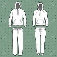Vector - Front view of men's and women's clothing set. Blank templates of hoodi and sweatpants. Sport style. Vector illustration on the spotted background ...