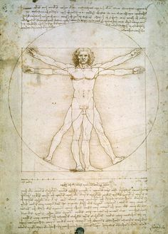 Leonardo's Vetruvian Man. The man in the circle is Vitruvius, the 1st century architect, who wrote that the best architecture is modeled on nature. The surrounding notes are taken from his revolutionary book De Architectura. Leonardo places two men in a circle and a square, exploring the ideal proportions of the human figure in relation to the geometrical principles described by Vitruvius.