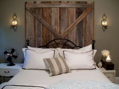 """our vintage home love: Barn Door Master Bedroom Makeover Reveal; Love the iron bed frame set up against a barn door """"headboard"""". Rustic Wooden Headboard, Wood Headboard, Headboard Ideas, Rustic Headboards, Modern Headboard, Metal Headboards, Country Headboard, Black Headboard, Queen Headboard"""
