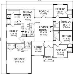 Craftsman Style House Plans - 1988 Square Foot Home , 1 Story, 5 Bedroom and 3 Bath, 2 Garage Stalls by Monster House Plans - Plan 11-417 fix master, add laundry, change garage, relocate stairs behind kitchen and master. Perfect