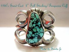 "1950'S Navajo Sand Cast/Natural Turquoise 2"" Cuff GORGEOUS PATINA!"