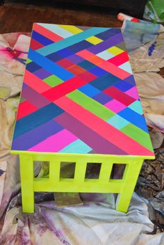 DIY neon colorful striped coffee table - love this