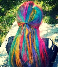 Rainbow hair - Life is too short for one hair color! My Hairstyle, Undercut Hairstyles, Pretty Hairstyles, Hair Undercut, Haircuts, Hair Color Changer, Rasta Hair, Different Hair Colors, One Hair