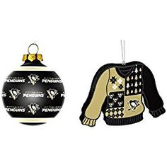 NHL Pittsburgh Penguins Repeat Glass Ball Christmas Ornament Foam Ugly Sweater Bundle 2 Pack By Forever Collectibles