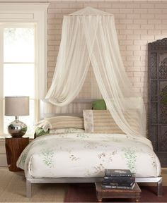 Create an ethereal escape right in your own home with the Siam bed canopy from Mombasa. Sheer, flowing mosquito netting brings an exotic allure to any room you desire, including bedrooms, porches, and Canopy Curtains, Canopy Bedroom, Fabric Canopy, Bedroom Ceiling, Canopy Tent, Dream Bedroom, Bedroom Decor, Bed Canopies, Bedroom Ideas