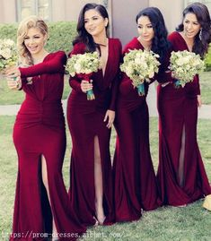 Prom Dresses Ball Gown, Long Sleeves Open Back Mermaid V-neck Bridesmaid Dresses SantaFe Bridal Maroon Bridesmaid Dresses, Winter Bridesmaids, Gold Prom Dresses, Wedding Bridesmaids, Christmas Bridesmaid Dresses, Mermaid Bridesmaid Dresses, Bridesmaid Outfit, Evening Dresses, Dream Wedding