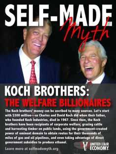 Koch Brothers likes to champion themselves as crusaders against the welfare state. But a new report shows that they took $88 million of your taxpayer dollars while demanding that governments stop wasting taxpayer dollars: http://www.dailykos.com/story/2014/03/09/1283390/-Koch-Brothers-Takes-88-Million-in-Corporate-Welfare?detail=email