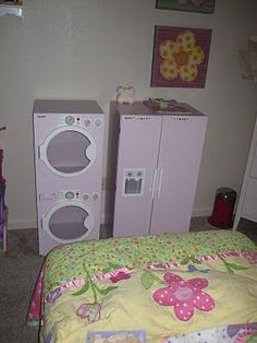 DIY Play Time Furniture {how-to}   I love the washer/dryer set and the doll bed!