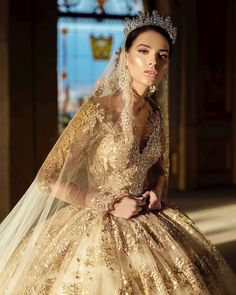 Gold and Glamorous & ZsaZsa Bellagio & Like No Other Source by dipseyodoodle The post Gold and Glamorous July 2017 appeared first on wedding. Gold Wedding Gowns, Dream Wedding Dresses, Wedding Attire, Bridal Dresses, Queen Wedding Dress, Queen Dress, Quince Dresses, Glamour, Long Sleeve Wedding