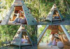 Love the open sides of the wooden tipi + how the outside walls are built for climbing + the little deck