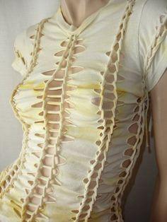womens shredded tshirt.