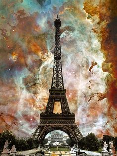 Title: The Eiffel Tower - Paris France Art By Sharon Cummings Artist: Sharon Cummings Medium: Painting - Mixed Media Photo Collage Painting