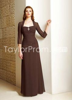 3/4 Long Sleeve Floor-length Prom/Bridesmaid Dresses