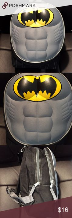 "Batman Molded Padded Chest Toddler 12"" Backpack Brand new with tags. This Batman Molded Padded Chest Muscle Toddler 12"" Backpack is smaller sized for younger children. Measures 12"" L x 8"" W x 4.5"" D. Backpack has 2 zippered compartments and adjustable shoulder straps. Fast Forward Accessories Bags"