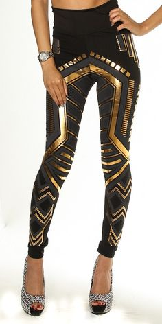 These metallic stunning gold and black leggings are ready to make a fashion statment with its tribal galactic look. These leggings can be dressed down or up. Featuring a comfortable high waist band everyone will want to know where you got these leggings. Cyberpunk Mode, Cyberpunk Fashion, Haute Couture Style, Aztec Leggings, Printed Leggings, Black Leggings, Mode Stage, High Fashion Dresses, Fashion Forever