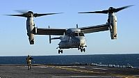 161023-N-QJ850-481 ATLANTIC OCEAN (Oct. 23, 2016) An MV-22B Osprey, assigned to Marine Medium Tiltrotor Squadron 365 (VMM-365), takes off from the flight deck of amphibious assault ship USS Iwo Jima (LHD 7). Iwo Jima and the 24th Marine Expeditionary Unit are returning from conducting humanitarian aid and disaster relief in Haiti as part of Joint Task Force Matthew. (U.S. Navy photo by Petty Officer 2nd Class Andrew Murray/Released)