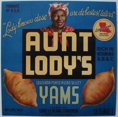 AUNT LODY'S Vintage Scott Louisiana Yam Crate Label