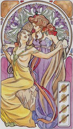 4 de bâtons - Tarot art nouveau par Antonella Castelli