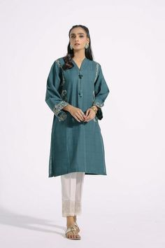 Paisley Embroidery, Teal Shirt, Pakistani Fashion Casual, Teal Colors, Top Sales, Ethnic, Fitness Models, Duster Coat, Suits