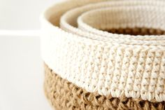 Stacking Baskets - 3 PDF Crochet Patterns - Jute and Cotton Nesting Bowls…