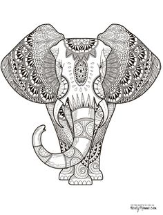 Elephant Abstract Doodle Zentangle Paisley Coloring pages colouring adult…