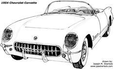 1954 was the year that Corvette went into full production. For $3,523, buyers got a sleek looking, low-slung car with side curtains and no outside door handles.  New exterior colors were Pennant Blue, Sportsman Red, and black. Despite this variety, almost 90% of the '54 Corvettes were painted white. A new top color - beige - was offered. Early Corvettes were powered by Chevrolet's Blue Flame Six (rated at 150 horses); powered through Chevy's anemic two-speed Powerglide automatic…