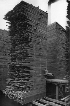 © Webster & Stevens, ca. 1919, Stacks of lumber drying, Seattle The Cedar Lumber Manufacturing Company's mill, located just west of the Ballard Bridge, was the largest in Ballard. At the mill, logs were cut into lumber which was then dried for at least nine months before being sold. The stacks of drying lumber were over 50 feet high. In 1958, these stacks caught fire and burned. Ballard residents remembered the huge blaze for many years. (+) (via burnedshoes)
