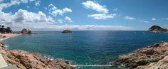 TOSSA DE MAR: a la izda, Platja de la Mar Menuda. A la dcha, Platja Gran