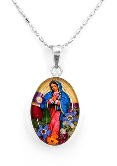 Sterling Silver Natural Flowers Mary Virgin of Guadalupe Pendant Taxco Mexico