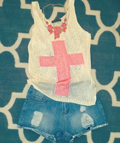 Pink Cross Tank Spring Outfit