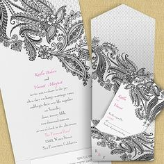 Lacy Delight Pocket Invitation~ Quaint Wedding Stationery~ Everyday 25% discount and Free Shipping!