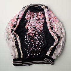 "pechenie33: "" MAYU Japan SAKURA Cherry Blossoms Heavy Embroidery Rising Koi Fish Tattoo Art Design Souvenir Sukajan Jacket """
