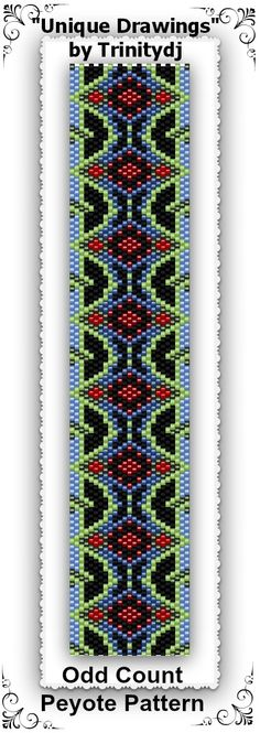 "New pattern listed : ""Unique Drawings"" - Odd Count Peyote Stitch Bracelet - In The Raw One of A Kind Design. Please follow this link for more info: https://www.etsy.com/listing/162181814/bp-ab-102-unique-drawings-odd-count"