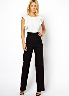 White & Black Ruffle Jumpsuit//