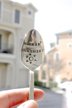 Mornin' Sunshine  Hand Stamped Spoon  by ForSuchATimeDesigns, $16.00