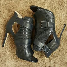 Navy Blue Express Open Toe Bootie Heels Brand new, never worn Express Runway Collection. Navy Blue Express Shoes Heeled Boots