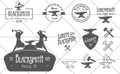 Check out Set of vintage blacksmith logos by 1baranov on Creative Market