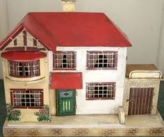 Image result for images of vintage dolls house Antique Dolls, Vintage Dolls, Doll Furniture, Doll Houses, Mice, Fairies, Queens, Shed, Homes