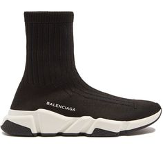 Balenciaga Speed trainer (8.630.050 IDR) ❤ liked on Polyvore featuring shoes, sneakers, black, black shoes, honey comb, balenciaga sneakers, black sneakers and balenciaga