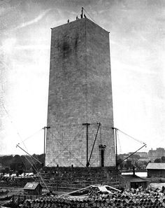 The Washington Monument is under construction in 1859 in Washington D.C.