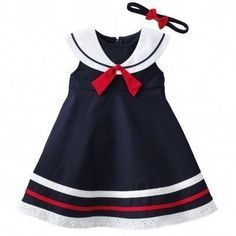 Sewing Baby Girl Sophie Rose Nautical Sailor Dress Matching Hairband of July Baby Outfits, Cute Outfits For Kids, Trendy Outfits, Trendy Dresses, Cute Little Girl Dresses, Baby Girl Dresses, Baby Dress, Dress Girl, Toddler Fashion