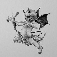 Dark Art Tattoo, Tattoo Art Drawings, Dark Tattoo, Tattoo Design Drawings, Tattoo Stencils, Art Sketches, Cherub Tattoo, Dark Art Drawings, Skulls Drawing