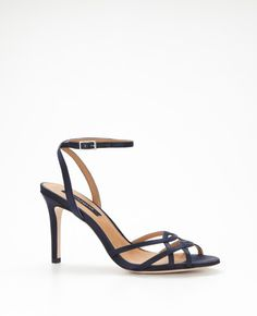 Navy Sandals - Perfect for June in Maine.  Strappy Satin Sandals from @Ann Flanigan Taylor.  Could be something blue? @Karen Darling Me Pretty