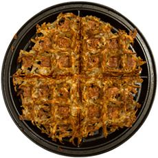 hashbrowns in the waffle maker...Perfect way to get more crunchy pieces!!- smart!