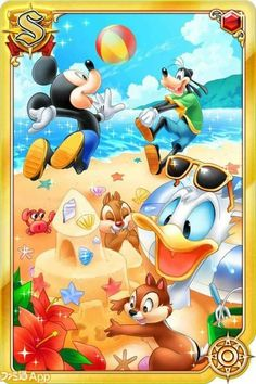 Disney - Mickey & Goofy having fun with the beach ball while Donald wakes up by surprise seeing Chip & Dale building a sandcastle